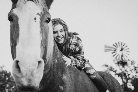 senior portrait with horse in St Charles IL
