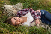 Naperville IL Senior Portrait of girl laying in the grass